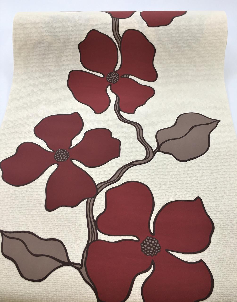 Фактурні німецькі флізелінові шпалери 140944, з великими і яскравими бордовими квітами на пастельному кремовому тлі