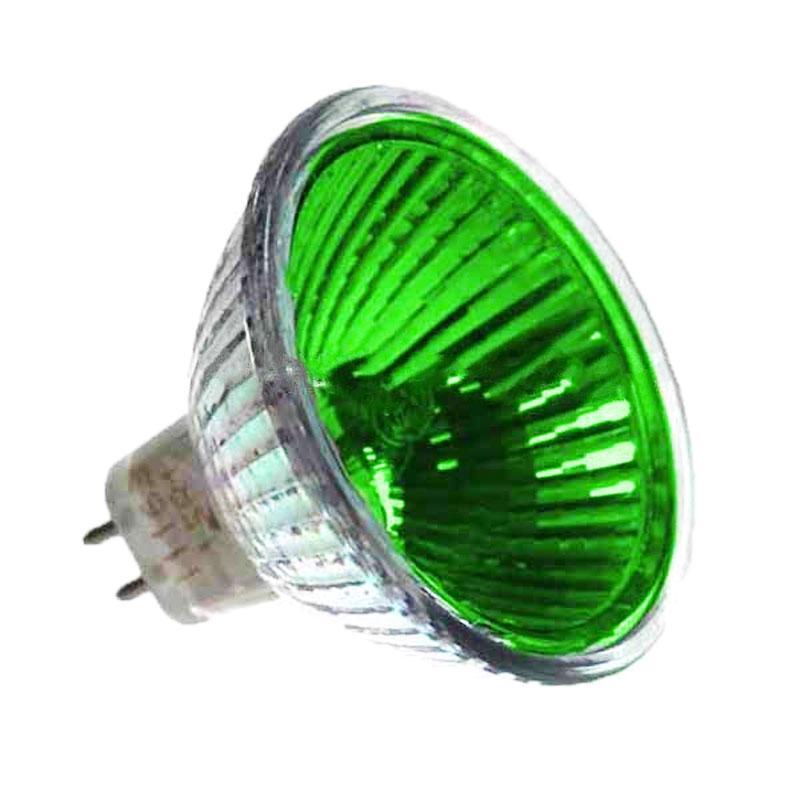Лампа 12v - 50w MLUX 36° MR16 зел. скл. біл.