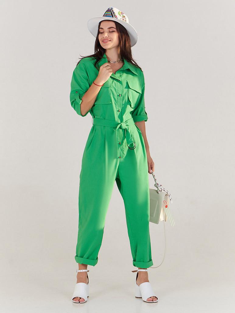 Комбинезон женский зеленый коттоновый SOLH MKSH2635