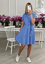 Женское платье застегивающееся на пуговицы и резинкой на талии с карманами по боках (р. 42-50)