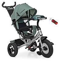 Велосипед детский трехколесный Turbotrike колясочный, свободный ход, муз, свет, mp3, usb, тормоз, хаки лен