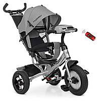 Велосипед детский трехколесный Turbotrike колясочный, свободный ход, муз, свет, mp3, usb, тормоз, серый лен