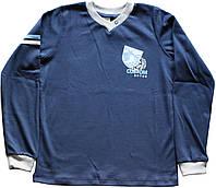 Кофта с длинным рукавом мальчику, хлопковая, темно-синяя, рост 134 см, ТМ Ля-ля