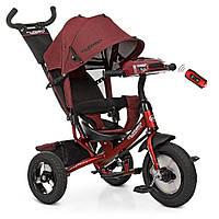 Велосипед детский трехколесный Turbotrike колясочный, свободный ход, муз, свет, mp3, usb, тормоз, красный лен