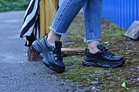 Кроссовки натуральная кожа черные, фото 1