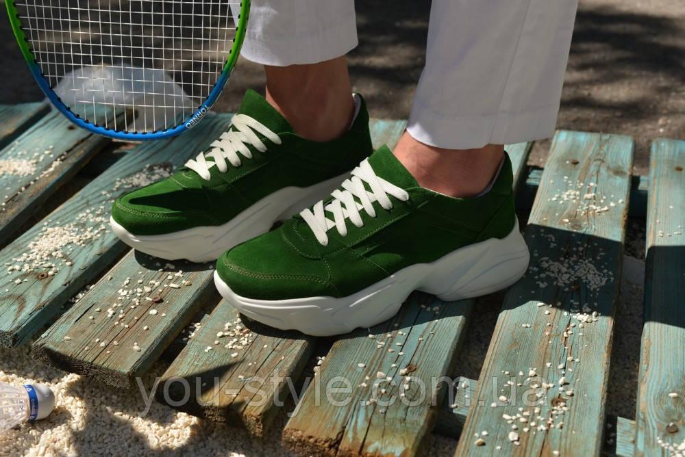 Кроссовки замшевые зеленые