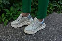 Кроссовки бежевые натуральная кожа, фото 1
