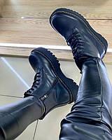 Женские Ботинки Мартинс Высокие Черные, фото 1