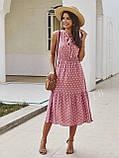 Жіночий літній сарафан на брітелях в горох тканина софт розмір: 42-44, 46-48, фото 3