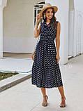 Жіночий літній сарафан на брітелях в горох тканина софт розмір: 42-44, 46-48, фото 4