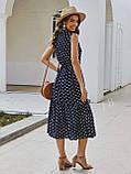 Жіночий літній сарафан на брітелях в горох тканина софт розмір: 42-44, 46-48, фото 5