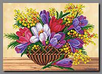 """Схема для частичной вышивки бисером """"Весенние цветы"""""""