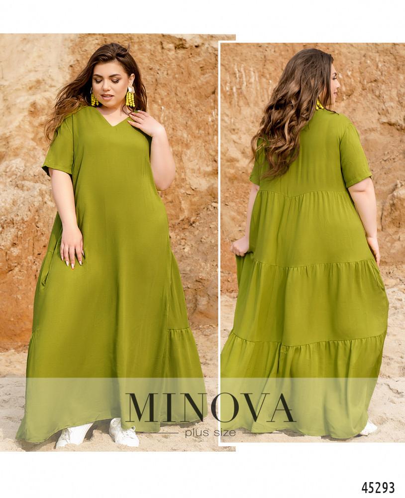 Яскраве однотонне фісташкове сукня максі великого розміру. Розмір: 50-52, 54-56, 58-60