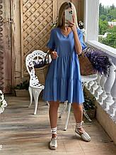 Женское летнее платье свободного кроя с карманами в боковых швах (р. 42-52)