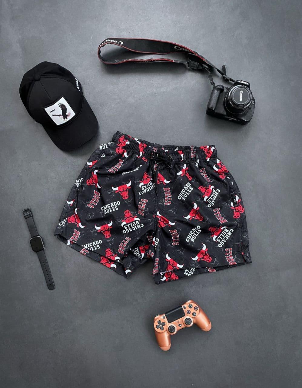 Шорти чоловічі пляжні чорні з принтом. Чоловічі плавки / плавальні шорти чорного кольору з модним принтом.