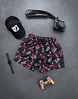 Шорти чоловічі пляжні чорні з принтом. Чоловічі плавки / плавальні шорти чорного кольору з модним принтом., фото 1