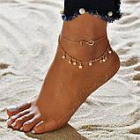 """Браслет на ногу-анклет """"Нескінченість"""" - золотистий, фото 2"""