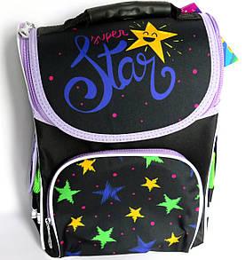 Каркасный рюкзак-короб с ортопедической спинкой для девочки, Звезды