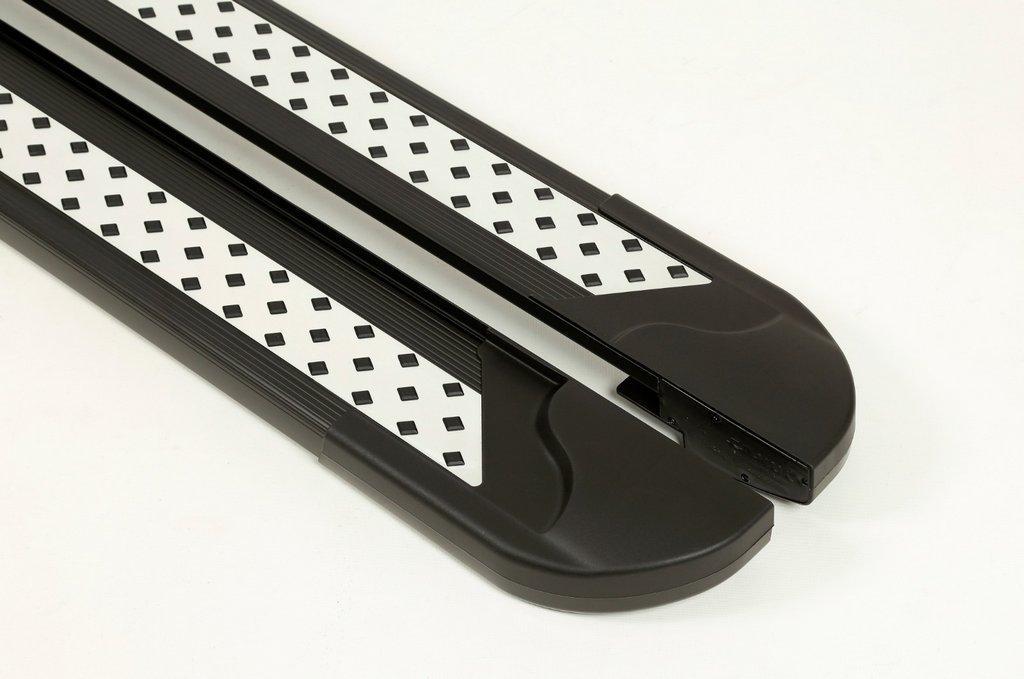 Боковые пороги Vision New Black (2 шт., алюминий) для Mitsubishi L200 2015↗ гг.