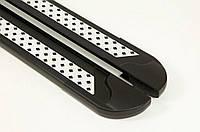 Боковые пороги Vision New Black (2 шт., алюминий) для Mitsubishi L200 2015↗ гг., фото 1