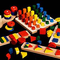 Подарок для детей деревянная развивающая игрушка геометрика 8 комплектов в одном наборе