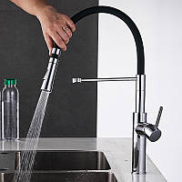 Смеситель кухонный с выдвижным сливом кран два режима воды, вращающийся на 360 градусов WanFan Черный-хром