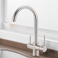 Смеситель для кухни двухрычажный кран для фильтрованной воды WanFan вертикальный монтаж Никель