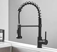Смеситель кухонный выдвижной слив кран два режима воды вращающийся на 360 градусов WanFan Черный