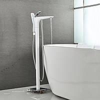 Напольный смеситель для ванны кран лейка WanFan кран, холодная и горячая вода Белый-хром