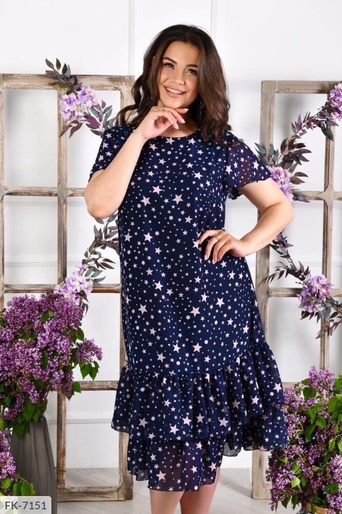 Летний шифоновое платье свободного кроя р-ры 50-60 арт.  192