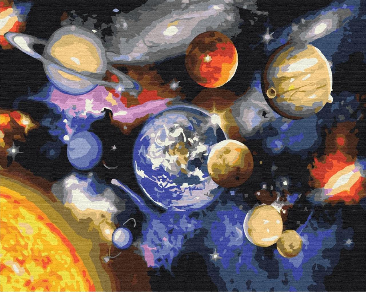 Картина малювання за номерами Парад планет BS22268 40х50см розпис по цифрам набір для малювання, полотно,