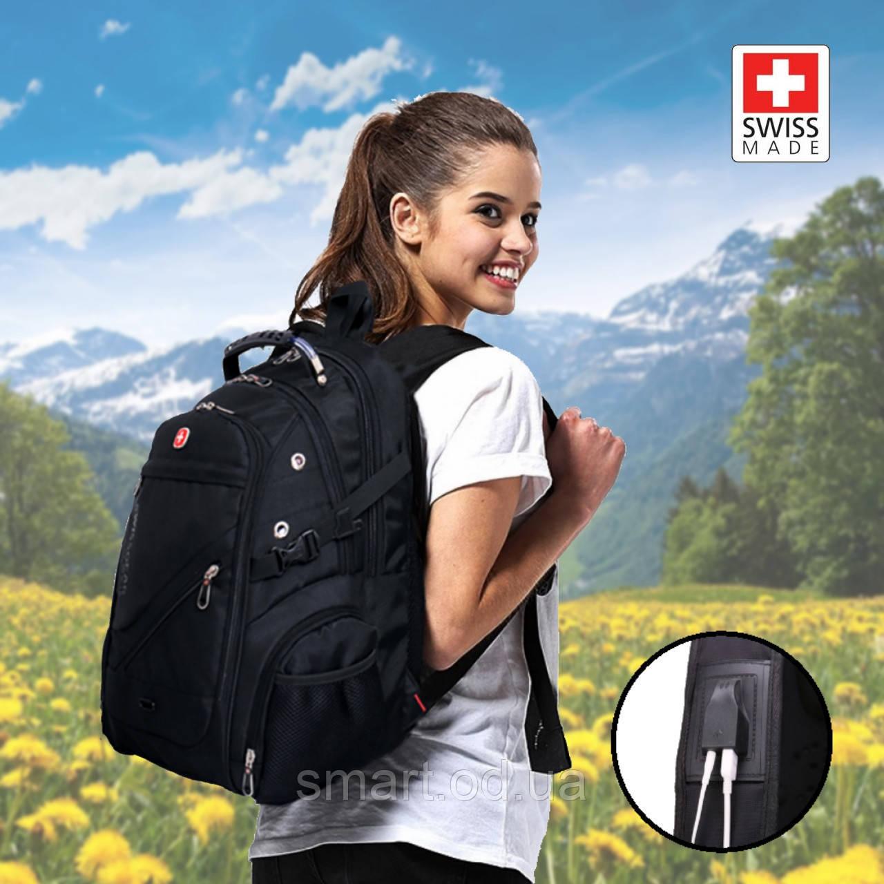 Швейцарський міської рюкзак SWISSGEAR 8810 з ортопедичною спинкою чорний репліка