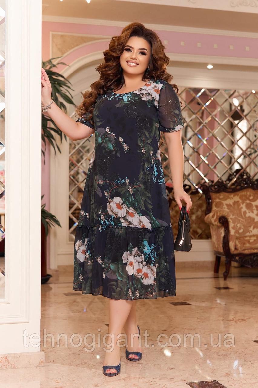 Ошатне літній шифонове плаття на підкладці з квітковим принтом великих розмірів 52,54,56,58 Чорне