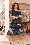 Ошатне літній шифонове плаття на підкладці з квітковим принтом великих розмірів 52,54,56,58 Чорне, фото 2