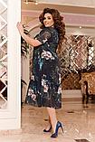 Ошатне літній шифонове плаття на підкладці з квітковим принтом великих розмірів 52,54,56,58 Чорне, фото 3