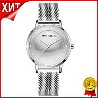 Часы женские Mini Focus 0332L Silver брендовый женский аксессуар сетчатый ремень влагозащита LuXel-Pro