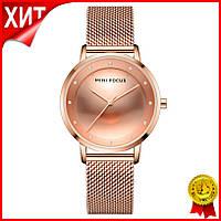 Часы женские Mini Focus 0332L Rose Gold брендовый женский аксессуар сетчатый ремень влагозащита LuXel-Pro