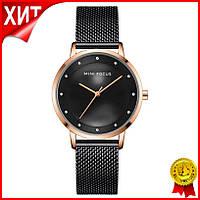 Часы женские Mini Focus 0332L Black брендовый женский аксессуар сетчатый ремень влагозащита LuXel-Pro