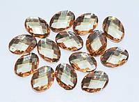 Кабошоны акриловые Овальные Янтарные 18x13 мм 10 шт/уп