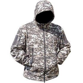 Тактична куртка Soft Shell Lesko A001 L Цифровий камуфляж КОД: 4255-12473