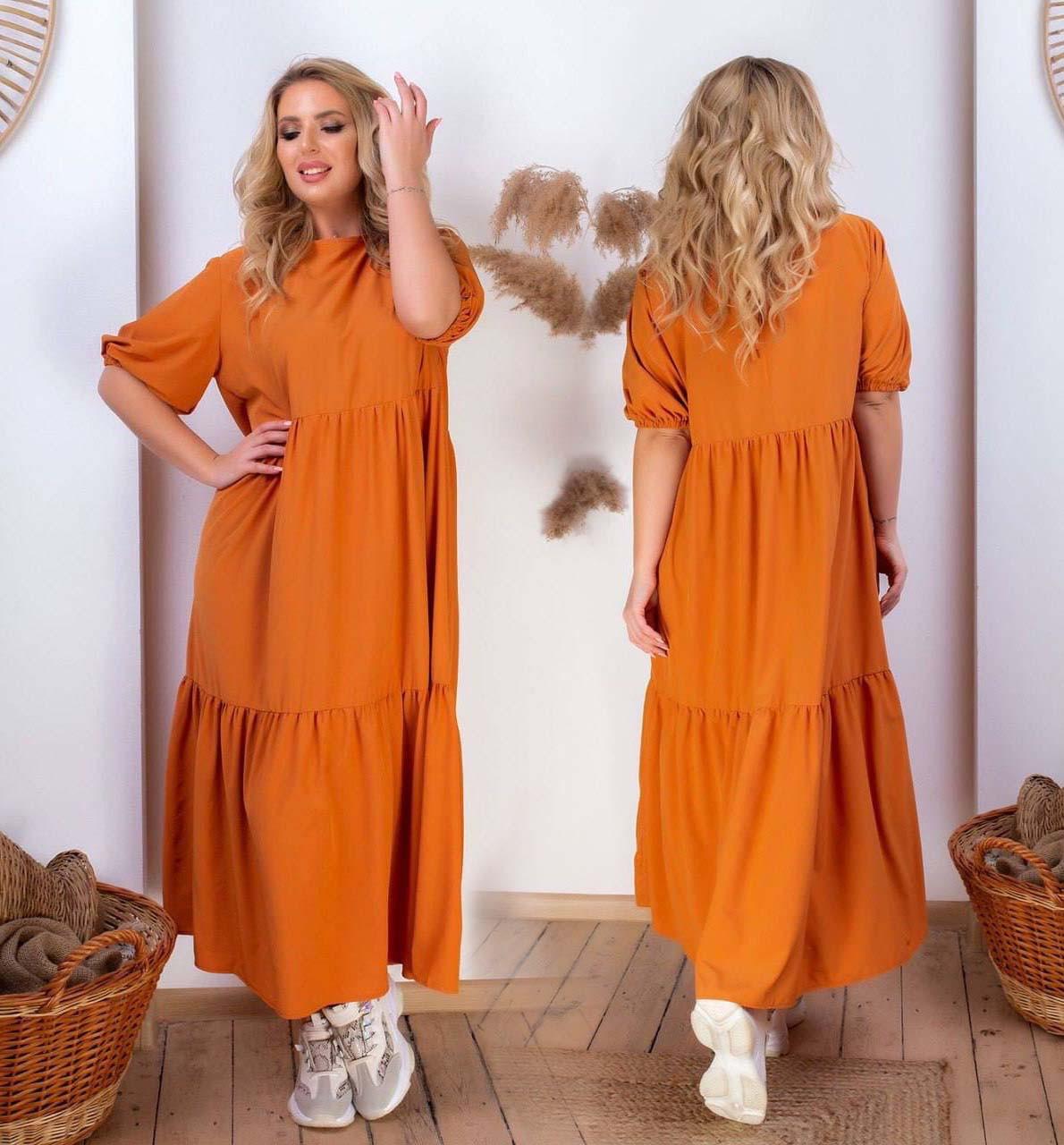 """Жіноче літнє плаття до великих розмірів 1987 """"Софт Волани Зав'язка"""" в кольорах"""