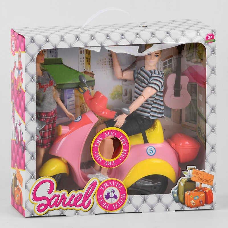 """Набор кукол 5533 В (36/2) """"Веселое путешествие"""", свет, звук, 2 куклы, мопед, аксессуары, в коробке"""