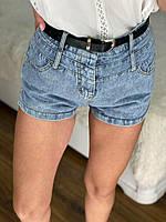 Женские короткие джинсовые шорты с ремнем (р. M, L) 76qv58