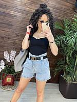 Женские короткие джинсовые шорты с высокой посадкой и ремнем (р. M, L) 76qv60