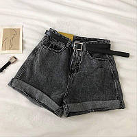 Женские шорты джинсовые короткие с подворотами и ремнем (р. S, M, L) 68qv61