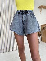 Джинсовые шорты женские короткие расклешенные на средней посадке (р. 32-40) 22qv62