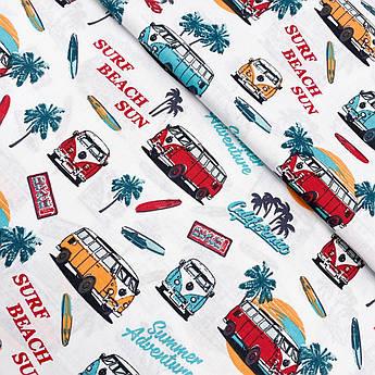 """Польская хлопковая ткань """"Пляжные автобусы с лазурными пальмами"""""""