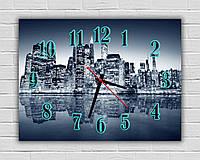 Декоративные часы картина настенные Вечерний город в серых тонах 30х40 см