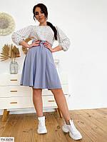 Літнє плаття по коліно з спідницею кльош рукав три чверті великі розміри 50-56 арт. д41123