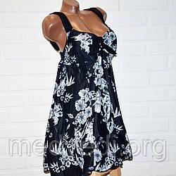 Черный купальник платье 70 размер, пляжная одежда для пышных дам